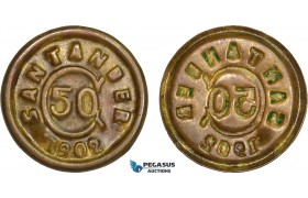 AB094, Colombia, (Thousand Days' War) Santander, 50 Centavos 1902, Brass, KM# A3, AU