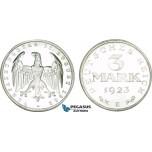AB096, Germany, Weimar, 3 Mark 1923 E, Muldenhutten, Aluminum, Proof (Few spots)