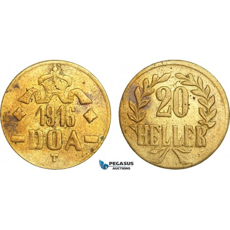 AB097, German East Africa (DOA) 20 Heller 1916-T, Tabora, Brass, UNC (Corrosion spots)