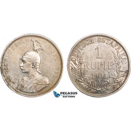 AB099, German East Africa (DOA) Wilhelm II, 1 Rupie 1904 A, Berlin, Silver, Toned VF-XF (Corrosion)
