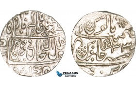 AB107, India, Narwar, Mahadji Rao, Rupee AH1205 Yr. 33, Silver (11.01g) Lustrous AU