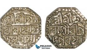 AB113, India, Assam, Brajnatha Simha, 1/2 Rupee ND, Silver (5.67g) XF-AU
