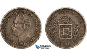 AB116, India (Portuguese) Luiz I, 1/8 Rupia 1881, Silver, Toned VF-XF (Few edge nicks)