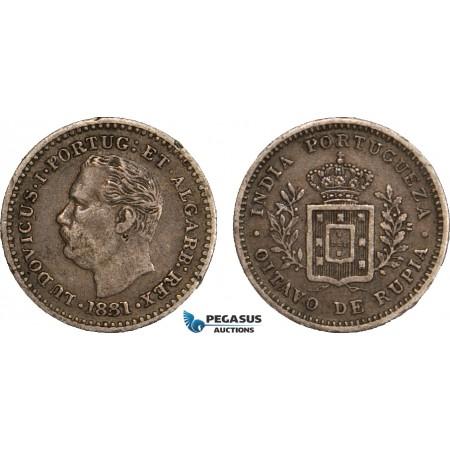 AB116, India (Portuguese) Luiz I, 1/8 Rupia 1881, Silver, Toned VF-XF (Few edge nicks)