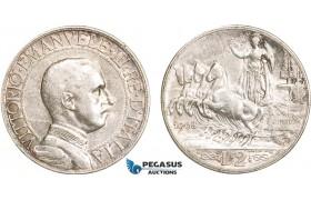 AB123, Italy, Vit. Emanuele III, 2 Lire 1908-R, Rome, Silver, XF