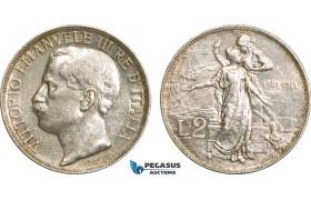 AB124, Italy, Vit. Emanuele III, 2 Lire 1911-R, Rome, Silver, AU
