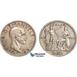 AB126, Italy, Vit. Emanuele III, 20 Lire 1927-R VI, Rome, Silver, VF-XF
