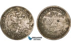 AB136, Mexico, Revolutionary, Guerrero, Campo Morado, 1 Peso 1914 CAMPO Mo, Gold with Silver, KM# 659, VF