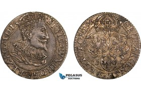 AB147, Poland, Sigismund III, 6 groschen 1596, Marienburg, Silver, Toned XF (Minor edge damage)