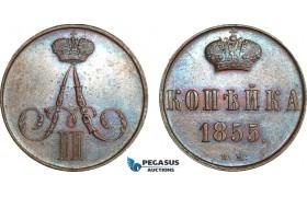 AB148, Russia, Alexander II, 1 Kopek 1855 BM, Warsaw, Brown AU, Rare!