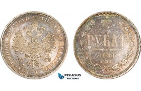 AB150, Russia, Alexander II, Rouble 1881 СПБ-НФ, St. Petersburg, Silver, Toned AU (Some scratches)