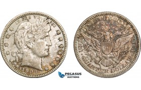 AB155, United States, Barber Quarter (25C) 1909-D, Denver, Silver, Minor scratch, Partly toned!