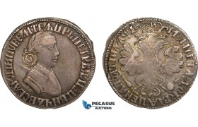 AB156, Russia, Peter I, Poltina 1705, Moscow, Silver (13.63g) Bit. 552 (R3) Toned XF, Very Rare!