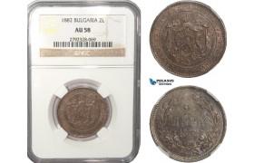 AB157, Bulgaria, Alexander, 2 Leva 1882, St. Petersburg, Silver, NGC AU58