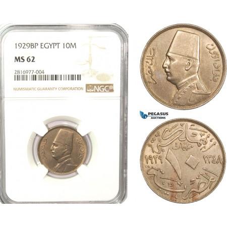 AB161, Egypt, Fuad, 10 Milliemes 1929 BP, Budapest, NGC MS62