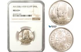 AB162, Egypt, Farouk, 5 Piastres AH1358 / 1939, Silver, NGC MS63+