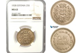 AB164, Estonia, 25 Senti 1928, NGC MS63