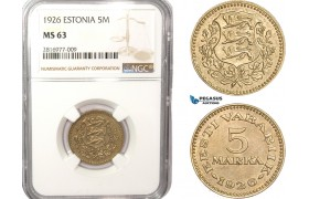 AB166, Estonia, 5 Mark 1926, NGC MS63, Rare!
