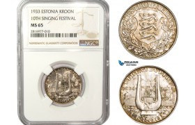 AB167, Estonia, 1 Kroon 1933, Silver, NGC MS65