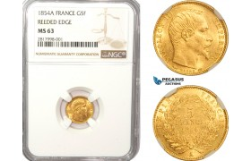 AB168, France, Napoleon III, 5 Francs 1854-A, Paris, Gold, NGC MS63 (Reeded edge)