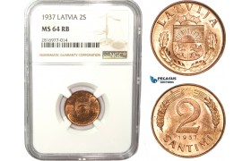 AB172, Latvia, 2 Santimi 1937, NGC MS64RB