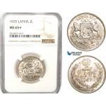 AB175, Latvia, 2 Lati 1925, Silver, NGC MS65+