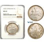 AB178, Lithuania, 5 Litai 1925, Silver, NGC MS62