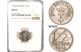 AB180, Poland, Danzig, 1/2 Gulden 1932, NGC MS62