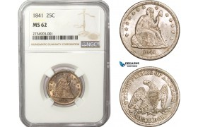 AB183, United States, Liberty Seated Quarter (25C) 1841, Philadelphia, Silver, NGC MS62