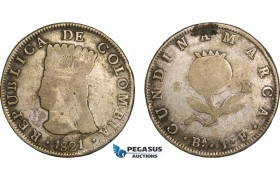 AB188, Colombia, Pre-Rebublican, 8 Reales 1821 Ba JF, Cundinamarca, Silver, KM# C6, Fine