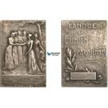 AB196, France, Silver Art Nouveau Plaque Medal 1910 (40x27mm, 25.3g) Paris Bank Union