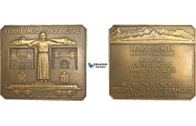 AB197, France & Spain, Bronze Art Deco Plaque Medal 1928 (64.5x56.5mm, 113g) by Michelet, Pau – Canfranc Railroad, Train, Rare!