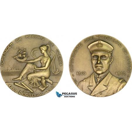 AB201, Portugal, Bronze Medal 1969 (Ø80mm, 222g) by Vasco de Conceicao, Owl, Ships, Navy
