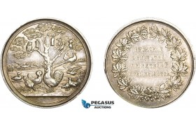 AB202, Russia & Latvia, Silver Medal ND (c. 1880) (Ø39mm, 28.5g) by Schuppan, Riga Poultry Contest, Owl, RR!!