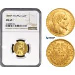 AB209, France, Napoleon III, 20 Francs 1860-A, Paris, Gold, NGC MS64+