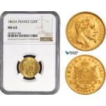 AB210, France, Napoleon III, 20 Francs 1863-A, Paris, Gold, NGC MS63