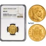 AB212, France, Napoleon III, 20 Francs 1869-A, Paris, Gold, NGC MS64