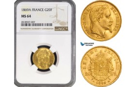 AB212, France, Napoleon III, 20 Francs 1869-A, Paris, Gold, NGC MS64