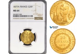 AB213, France, Third Republic, 20 Francs 1877-A, Paris, Gold, NGC MS64