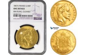 AB217, France, Napoleon III, 100 Francs 1867-A, Paris, Gold, NGC UNC Details