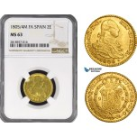 AB219, Spain, Carlos IV, 2 Escudos 1804/5 M FA, Madrid, Gold, NGC MS63, Pop 1/0, Finest!