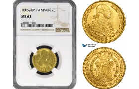 AB219, Spain, Carlos IV, 2 Escudos 1804/5 M FA, Madrid, Gold, NGC MS63, Pop 1/0, Finest!