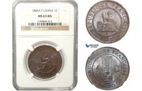 AB220-F, French Indo-China, 1 Centime 1885-A, Paris, NGC MS63BN