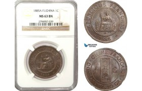 AB221-F, French Indo-China, 1 Centime 1885-A, Paris, NGC MS63BN