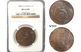 AB222-F, French Indo-China, 1 Centime 1887-A, Paris, NGC MS63BN