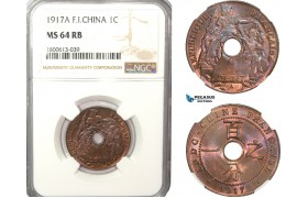 AB223-F, French Indo-China, 1 Centime 1917-A, Paris, NGC MS64RB