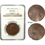 AB225-F, South Africa (ZAR) Penny 1892, NGC MS63BN (Worn slab)