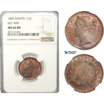 AB226-S, Straits Settlements, Victoria, 1/2 Cent 1845 (No WW) NGC MS64BN, Pop 3/1, Rare!