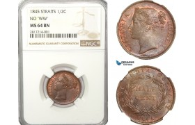 AB226-S, Straits Settlements, Victoria, 1/2 Cent 1845 (No WW) NGC MS64BN, Pop 3/1, Rare!