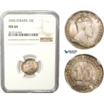 AB227-S, Straits Settlements, Edward VII, 10 Cent 1903, Silver, NGC MS64, Pop 2/1, Rare!